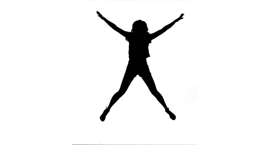 852x480 Silhouette In Slow Motion Jumping With Arms Raised Against A White