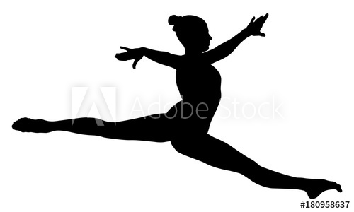 500x300 Split Jump Girl Gymnast In Competition Gymnastics Black Silhouette