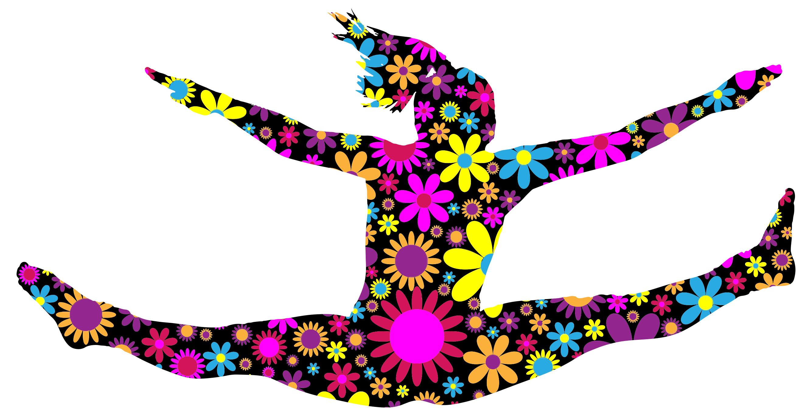 2669x1370 Floral Jumping Girl Silhouette 2 Clipart
