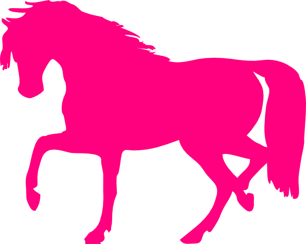 600x477 Horse Jumping Silhouette Pink