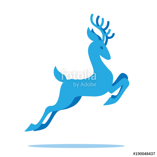 500x500 Graceful Deer With Antlers Jumping And Grazing. Vector