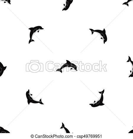 450x470 Jumping Dolphin Pattern Seamless Black. Jumping Dolphin Clipart
