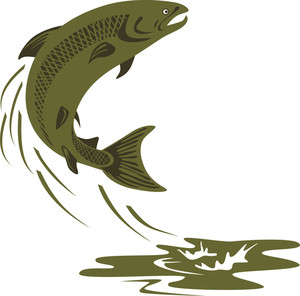300x296 Trout Fish Silhouette Retro Royalty Free Stock Image