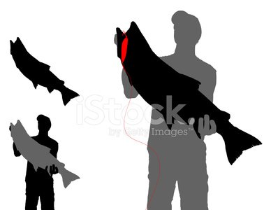 388x300 Trout With Lure And Fisherman Silhouette Premium Clipart