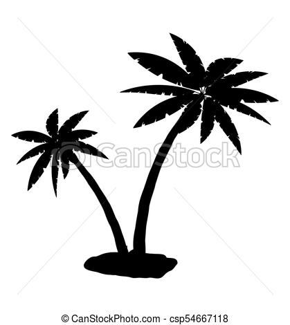 419x470 Tropical palm silhouette. jungle leaves set. coconut palm