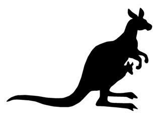 320x234 Kangaroo Silhouette 5 Decal Sticker