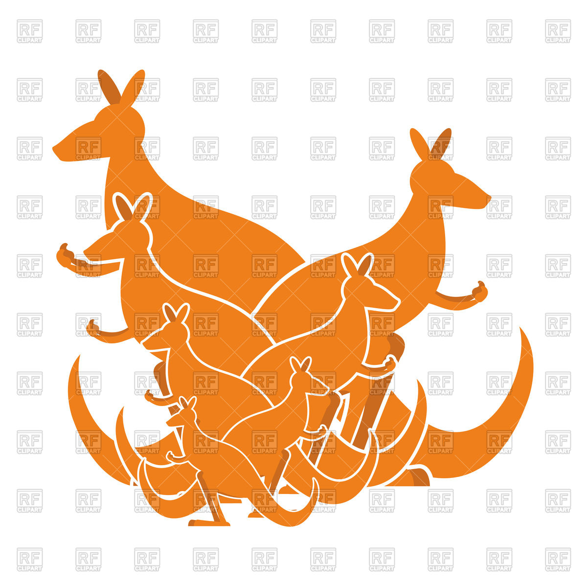 1200x1200 Orange Silhouettes Of Kangaroo Family Royalty Free Vector Clip Art
