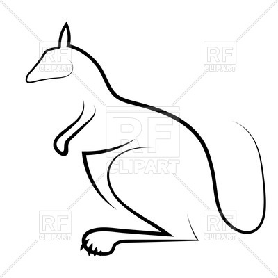 400x400 Outline Of Kangaroo Royalty Free Vector Clip Art Image