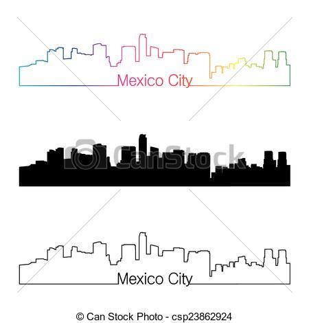 450x470 Mexico City Skyline Linear Style With Rainbow In Editable