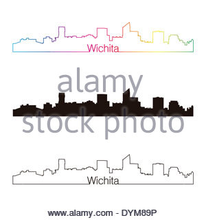 300x320 Wichita Kansas City Skyline Silhouette. Vector Illustration Stock