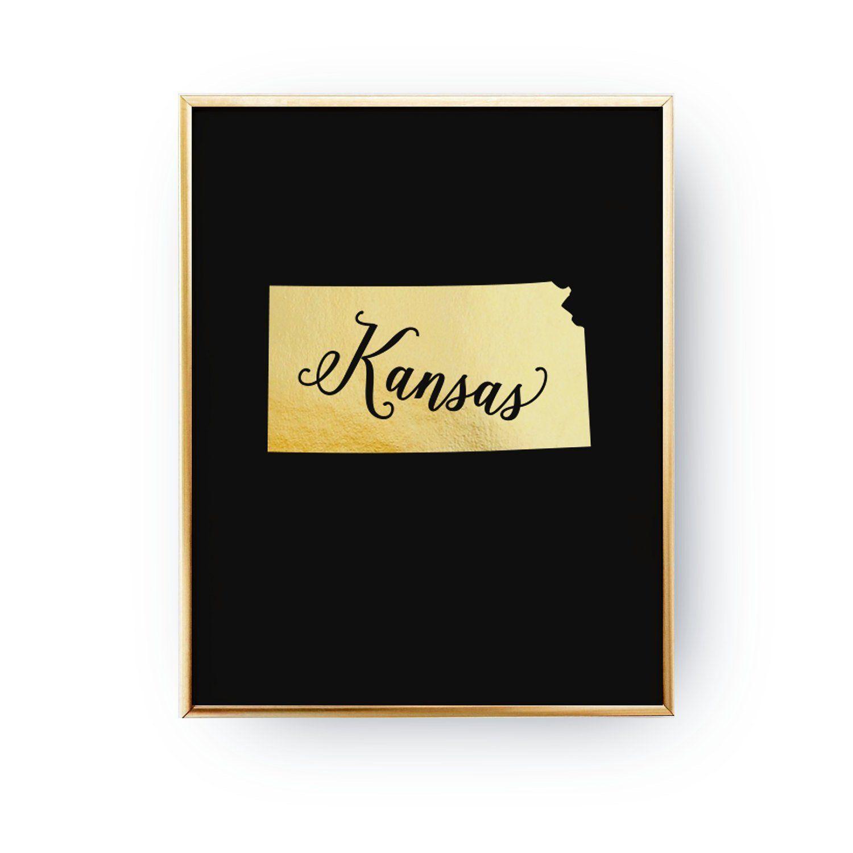1500x1500 Real Gold Foil Print, Kansas Print, Kansas State Print, Gold Usa