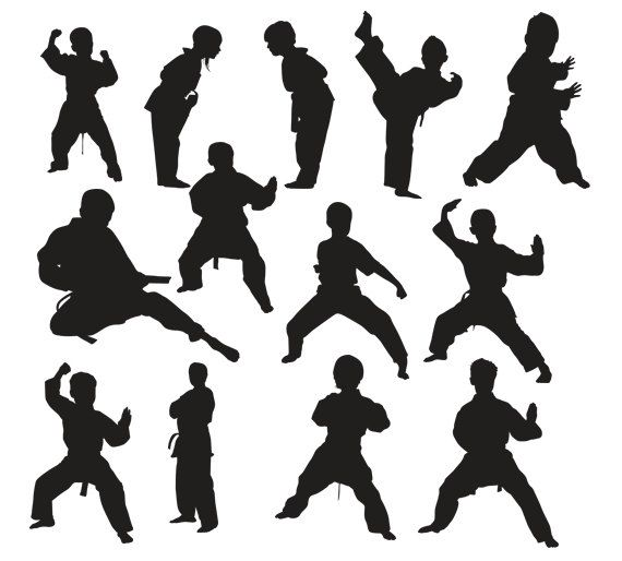 570x514 Martial Arts Kids Silhouette, Instant Download, Png, Jpg, Svg, Eps
