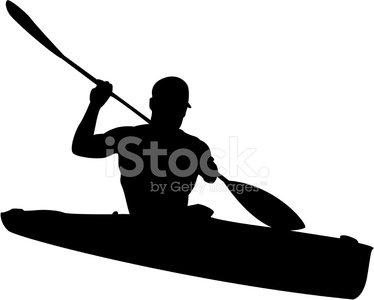 374x300 Man In Kayak Silhouette Stock Vectors