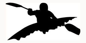 300x150 Kayak Sticker Silhouette Kayaking Car Window Vinyl Decal Water