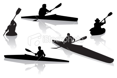 380x253 Vector Illustration Of Silhouetted Kayakers Kayaking On Open Water
