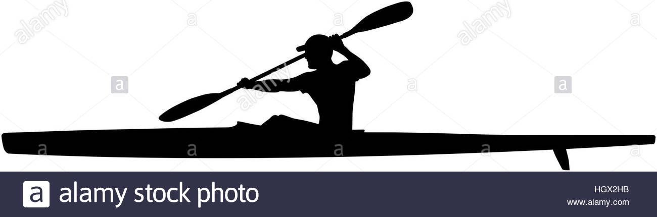 1300x430 Black Silhouette Athlete Kayaker Sport Kayak With Paddle Stock