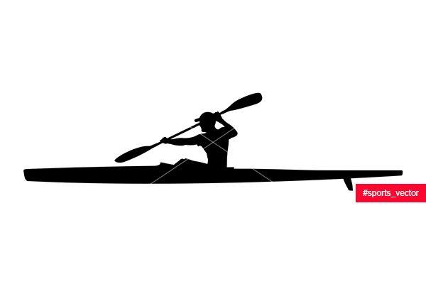 600x400 Black Silhouette Athlete Kayaker Sport Kayak With Paddle