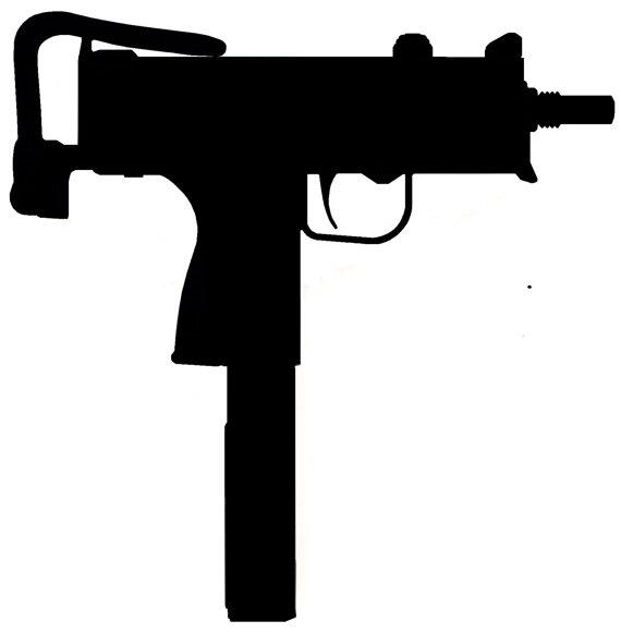570x581 Mac 10 Silhouette Gun Sticker No Background. About 7