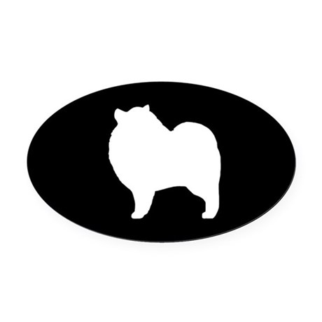 460x460 Keeshond Silhouette Oval Car Magnet By Mytreat