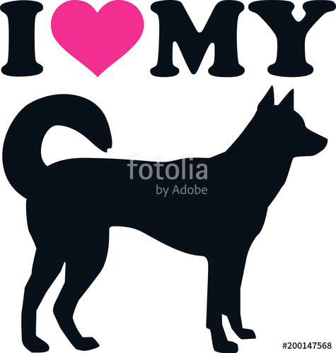 475x500 I Love My Kai Ken Silhouette Stock Image And Royalty Free Vector
