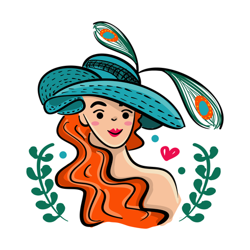 490x490 Kentucky Derby Hat With Beautiful Girl Illustration