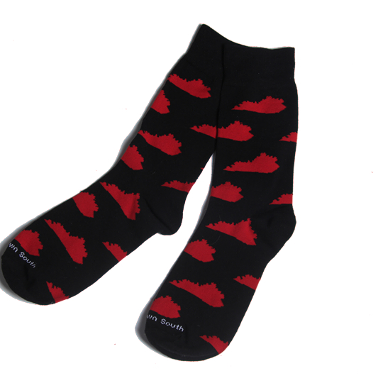 540x540 Blackred Ky State Silhouette Socks Kentuckys Finest