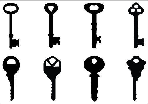 501x352 Keys Silhouette Clip Art Pack Download Key Vectors Clip Art