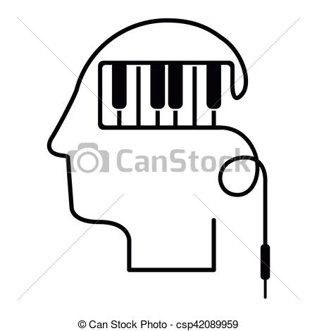 450x470 Black Silhouette Head With Piano Keys Vector Illustration Clipart