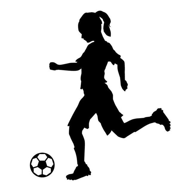 640x640 14.6cm17.6cm Silhouette Girl Soccer Player Kicking Ball Vinyl Car