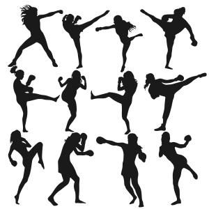 300x300 Boxing Women Figures Cuttable Design Cut File. Vector, Clipart