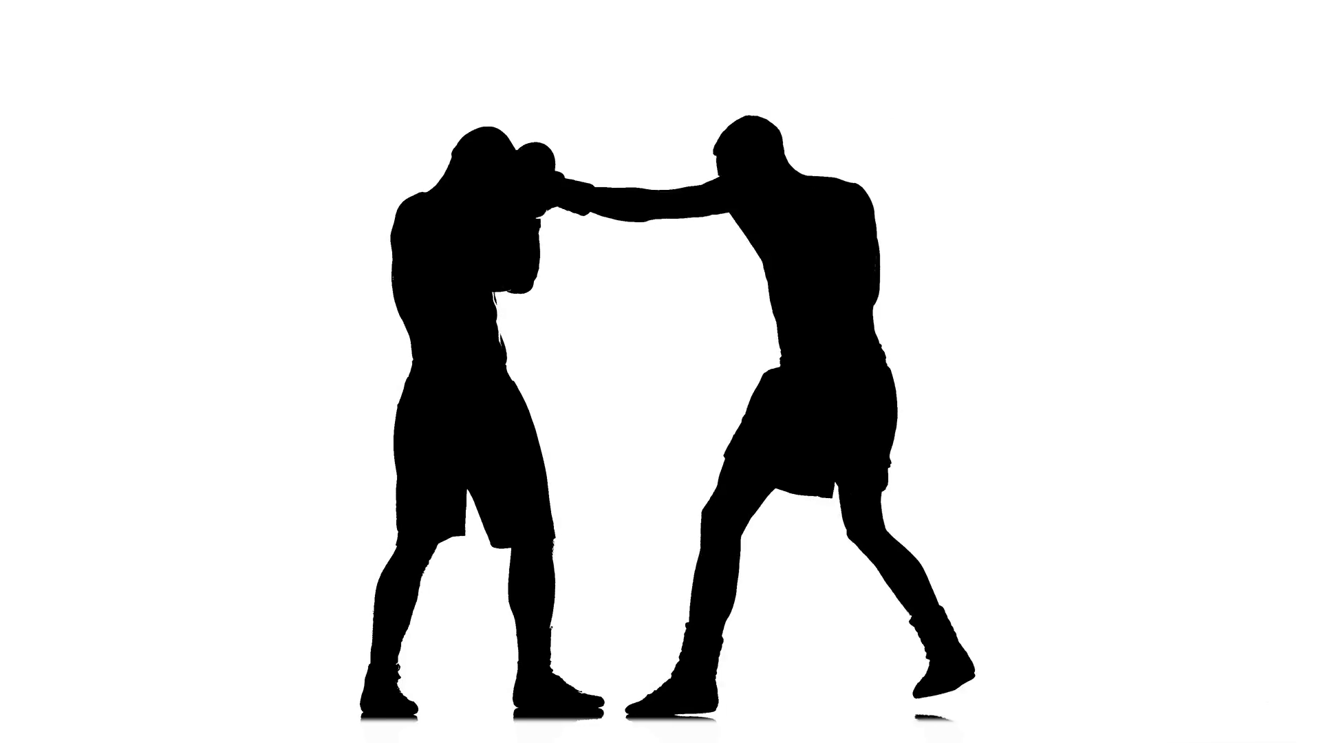 1920x1080 Silhouette Of Sportsmen Training. Two Kickboxer Sparring Stock