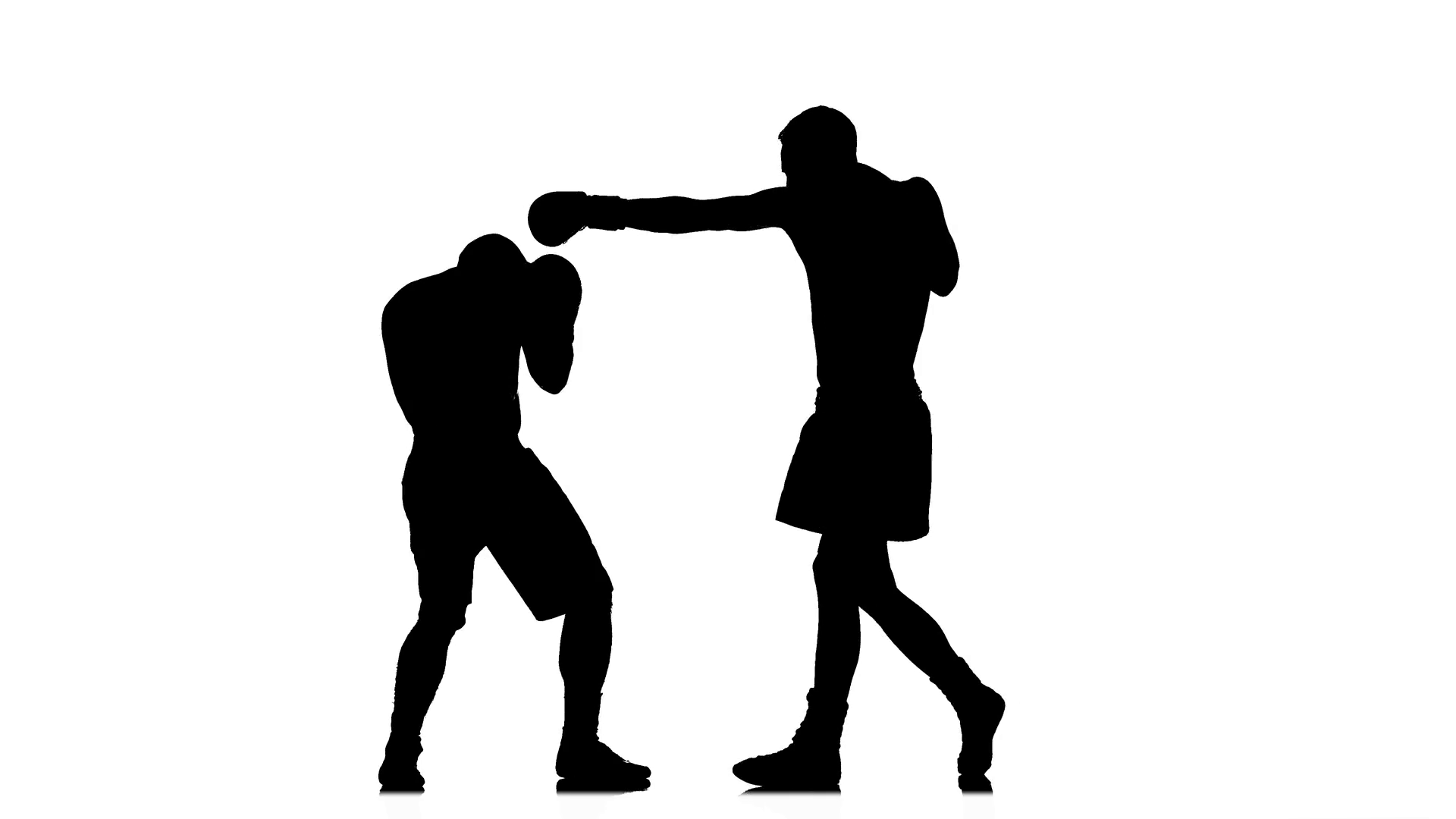 1920x1080 Two Kickboxer Sparring. Silhouette Of Sportsmen Training Stock