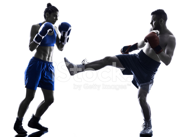 587x440 Woman Boxer Boxing Man Kickboxing Silhouette Isolated Stock Photos