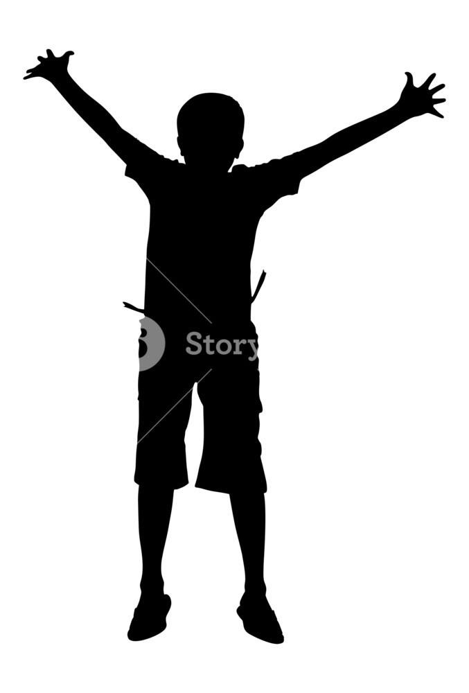 677x1000 Happy Jumping Kid Shape Royalty Free Stock Image