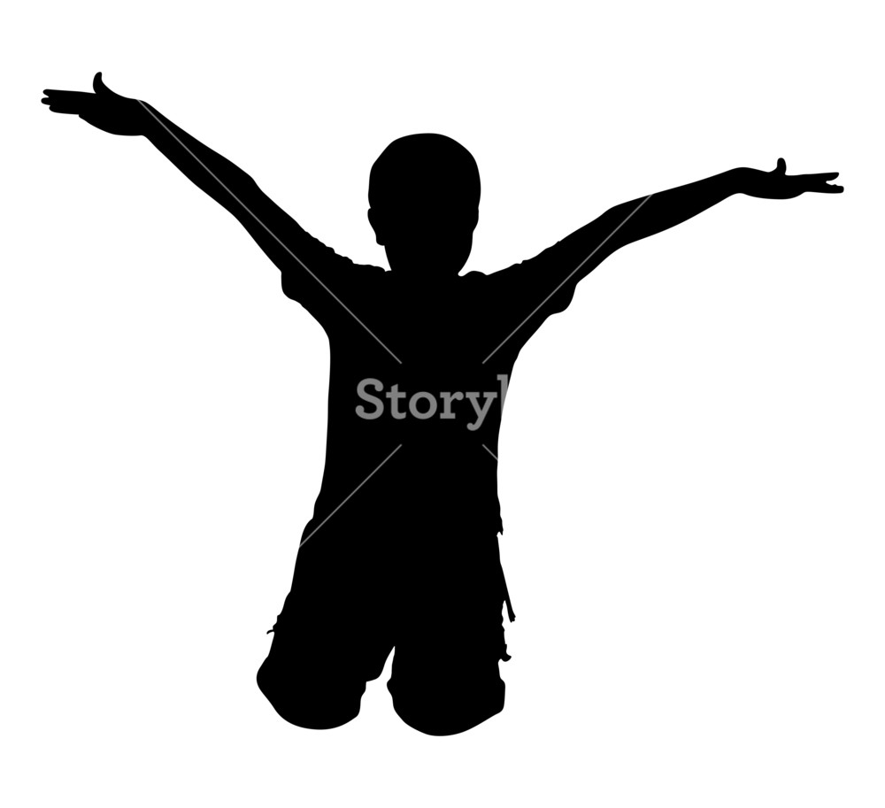 1000x913 Happy Kid Jumping Shape Royalty Free Stock Image