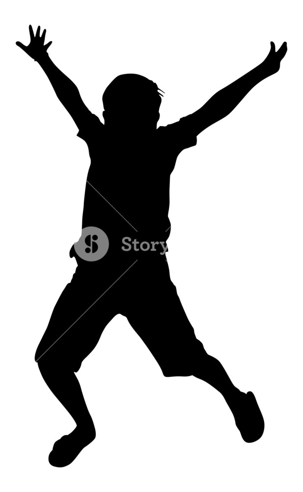 617x1000 Jumping Happy Kid Shape Royalty Free Stock Image