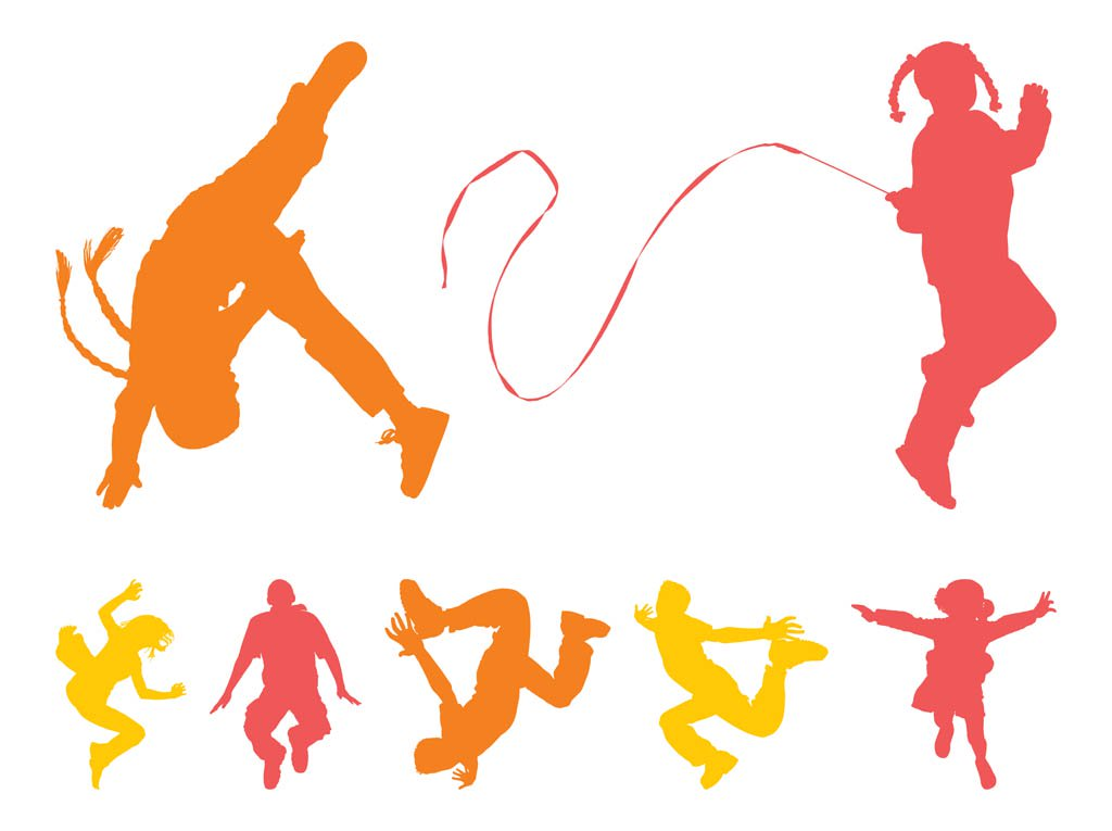 1024x765 Jumping Kids Silhouettes Vector Art Amp Graphics