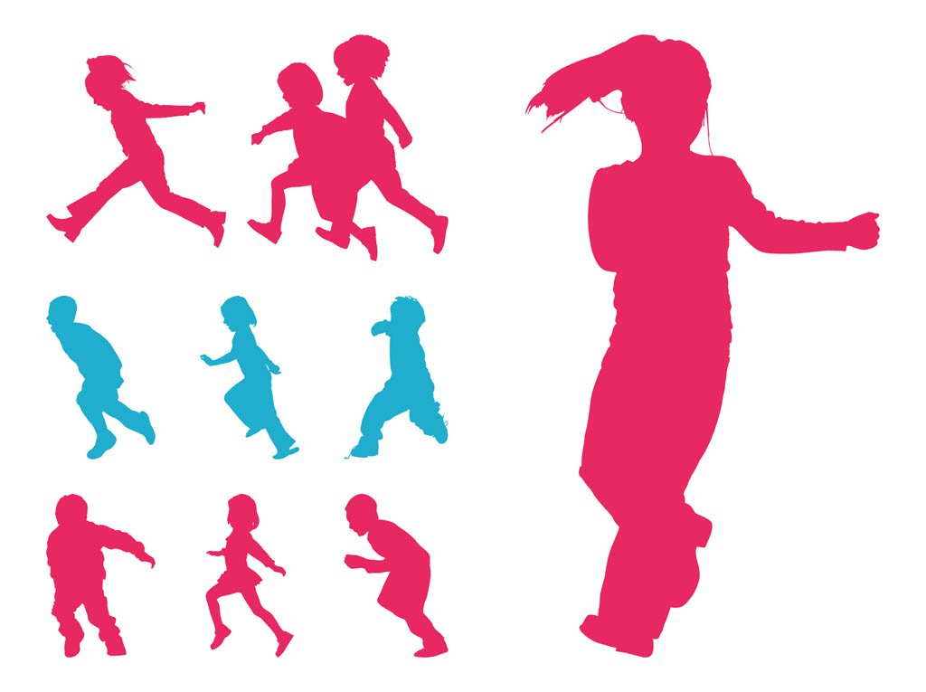 1024x765 Running Kids Silhouettes Vector Art Amp Graphics
