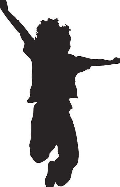 391x608 Happy, Content, Silhouette, Outline, Kid, Jumping, Hopping, Pose