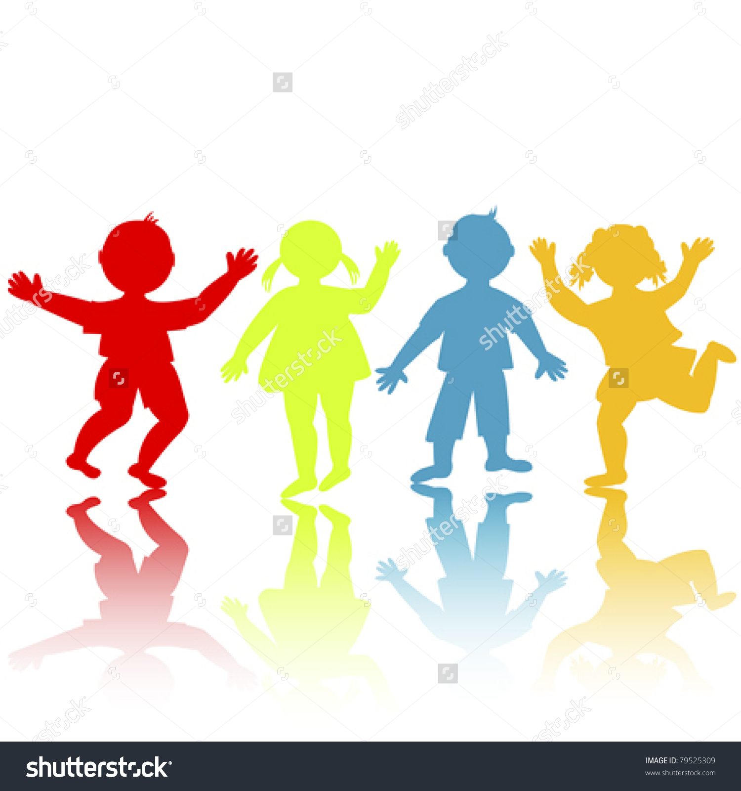 1500x1600 Children Holding Hands Silhouette Color Clipart