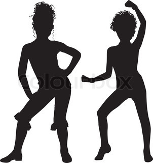 302x320 Dancing Silhouette Child Stock Vector Colourbox