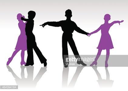 422x300 Silhouettes of Kids Dancing Ballroom Dance stock vectors