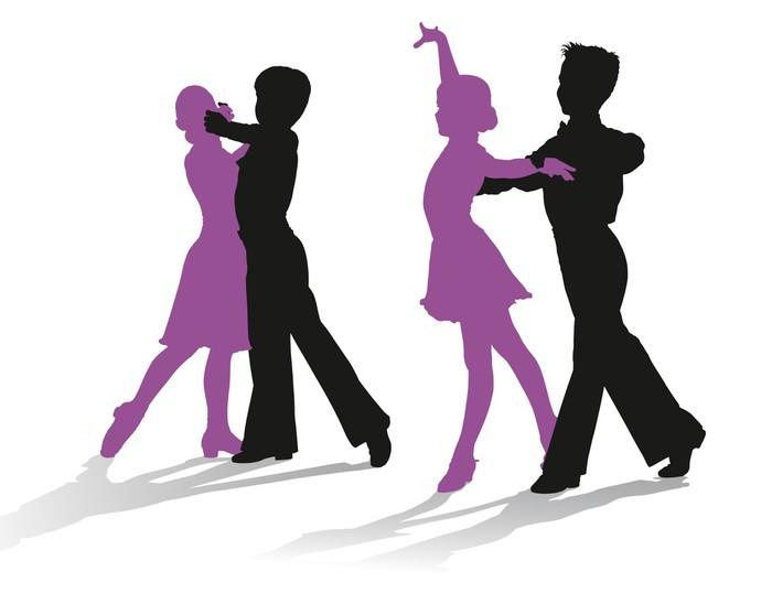 700x538 Silhouettes of kids dancing ballroom dance Wardrobe Sticker