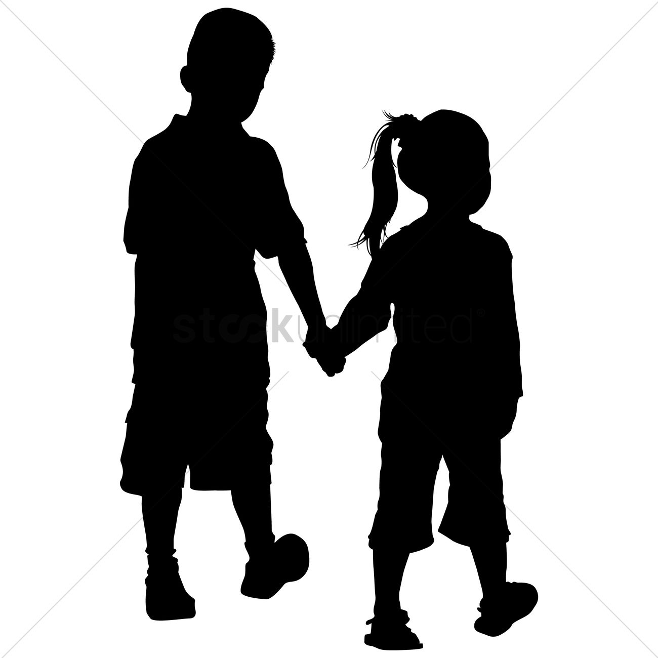 1300x1300 Silhouette Of Kids Holding Hands Vector Image
