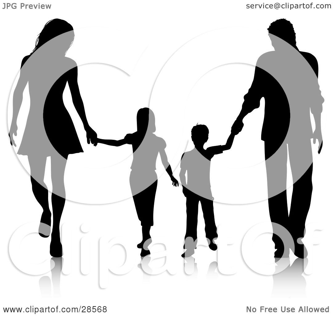 1080x1024 Free Clipart Silhouette Family With Young Children Holding Hands