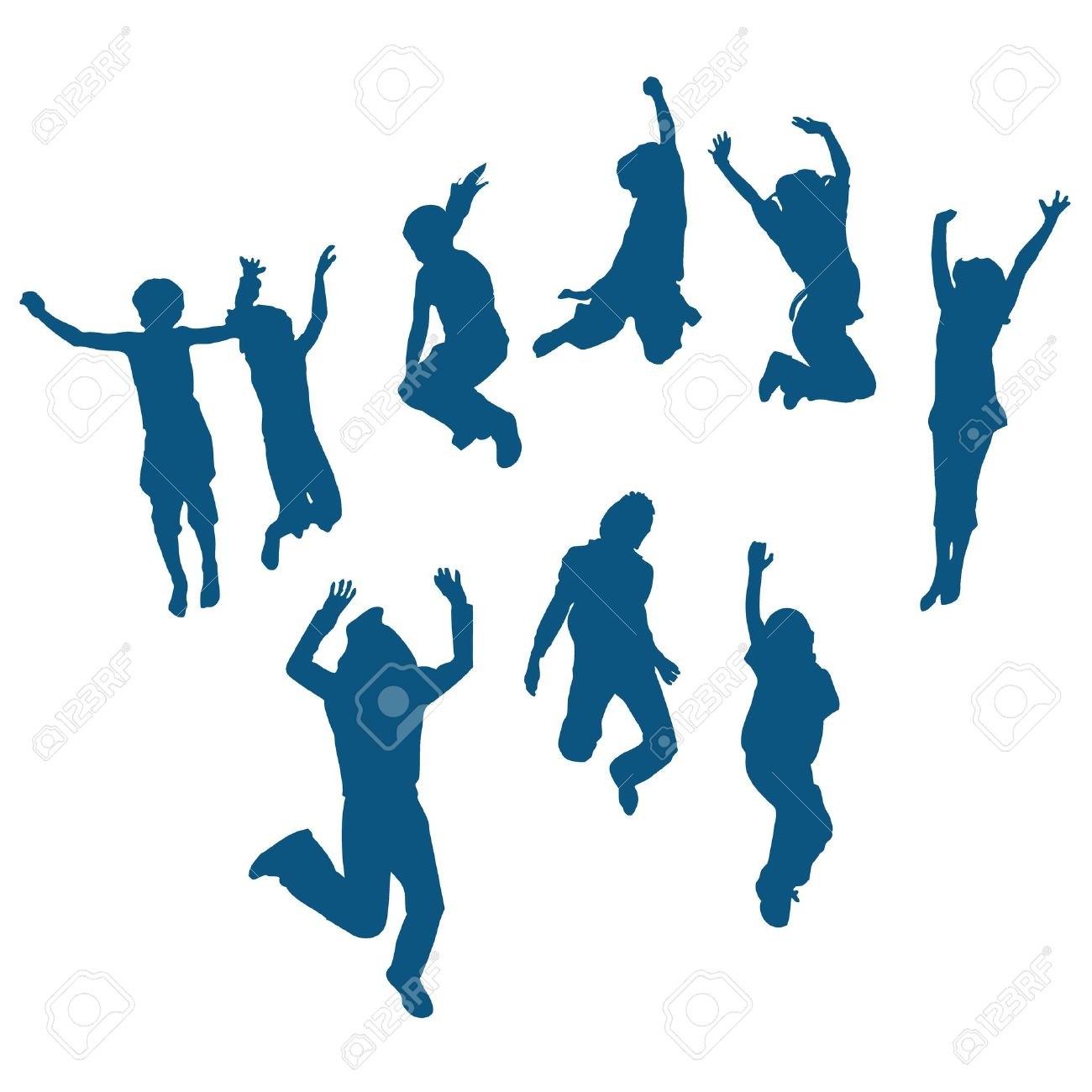 Kids jumping silhouette
