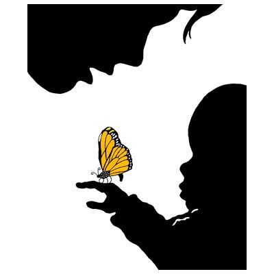 400x400 Mother Amp Child Canvas Butterfly Magic Silhouette