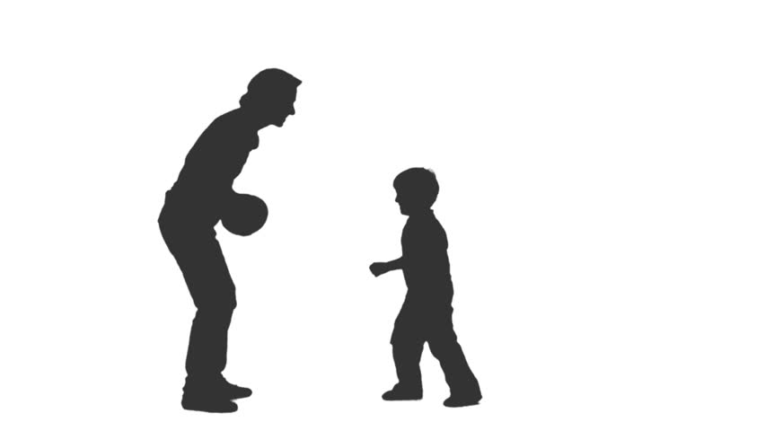 852x480 Silhouette Of A Little Boy Playing With His Parents. Full Hd
