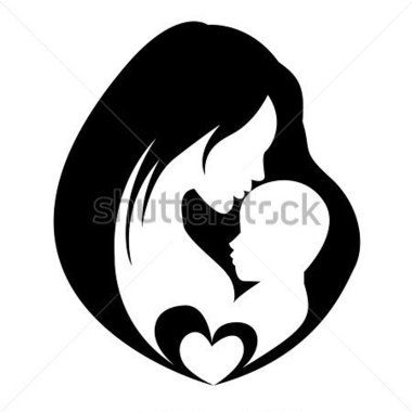 380x380 Mother Holding A Baby Stock Clipart Silhouettes