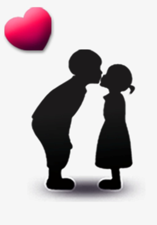 512x733 Cute Children Kissing, Love, Silhouette Figures, Kiss Png Image
